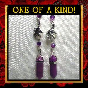 Unicorn & Purple Agate Gemstone Earrings #232